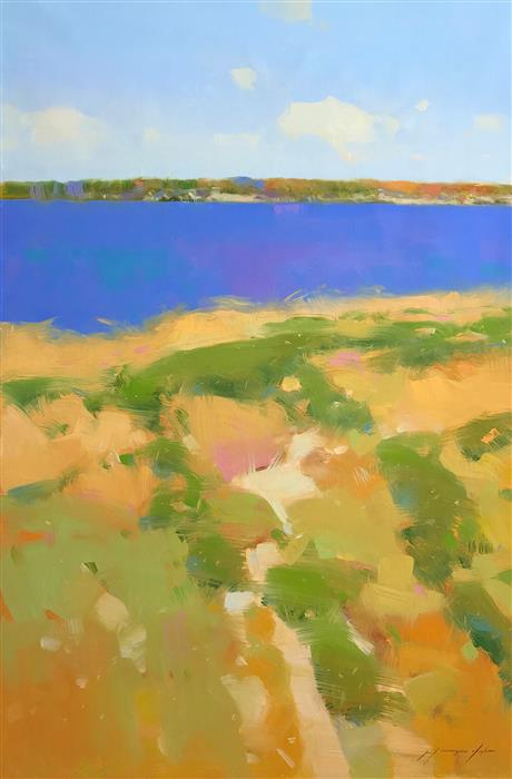 Original art for sale at UGallery.com | Riverside Breeze by Vahe Yeremyan | $2,700 | oil painting | 45' h x 30' w | ..\art\oil-painting-Riverside-Breeze