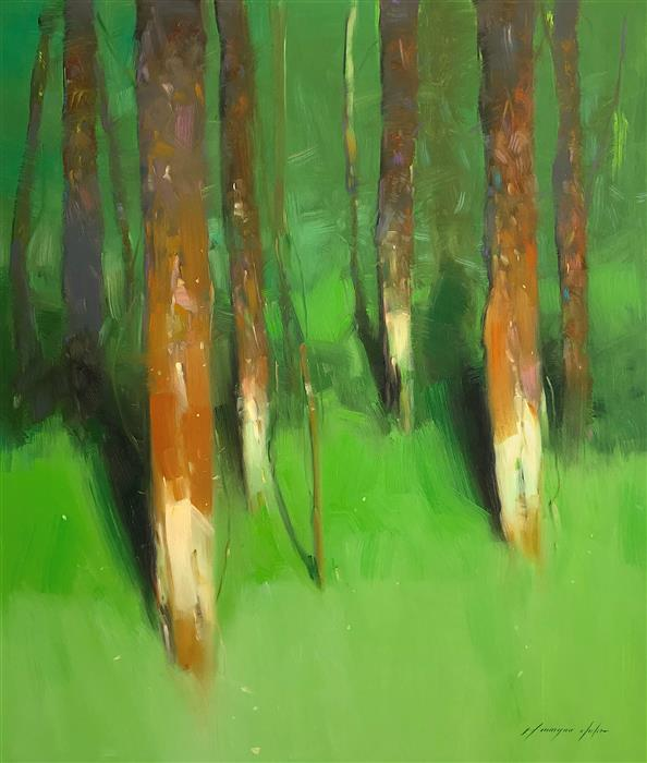 Original art for sale at UGallery.com | Forest Side by Vahe Yeremyan | $1,800 | oil painting | 35' h x 30' w | ..\art\oil-painting-Forest-Side