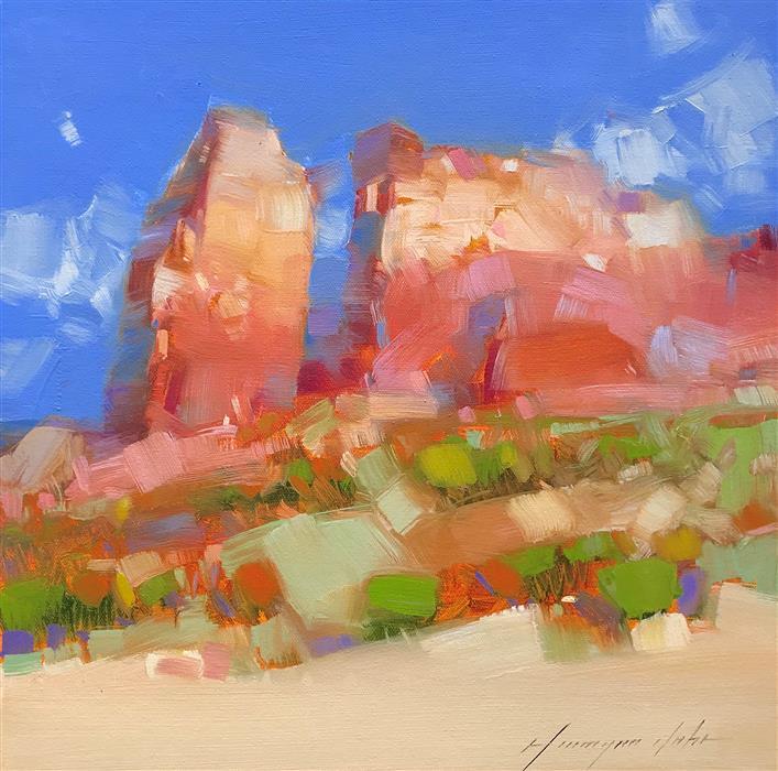 Original art for sale at UGallery.com | Desert Cliffs by Vahe Yeremyan | $500 | oil painting | 14' h x 14' w | ..\art\oil-painting-Desert-Cliffs