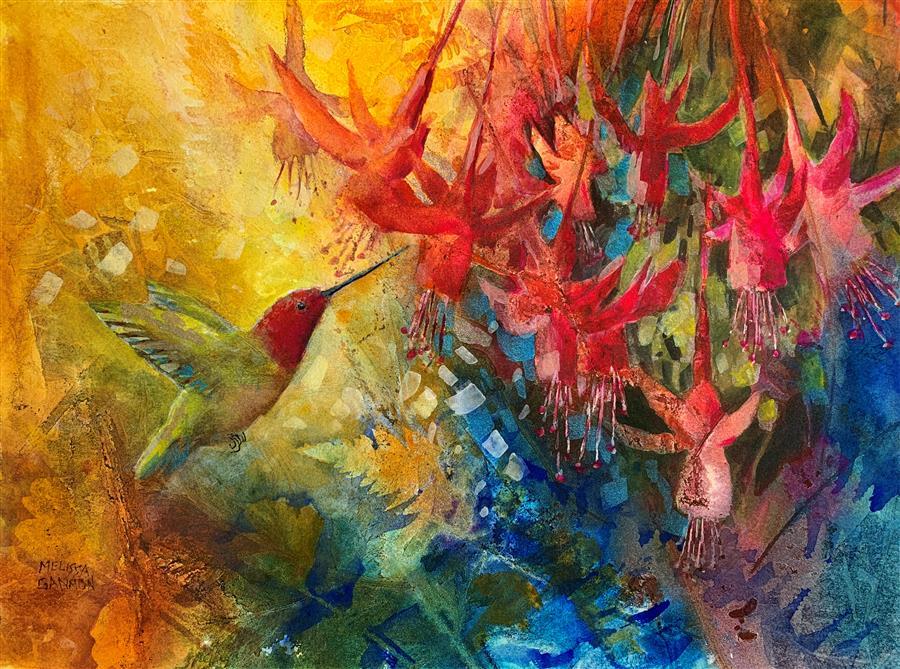 Original art for sale at UGallery.com | Paradise by Melissa Gannon | $300 | mixed media artwork | 11' h x 15' w | ..\art\mixed-media-artwork-Paradise