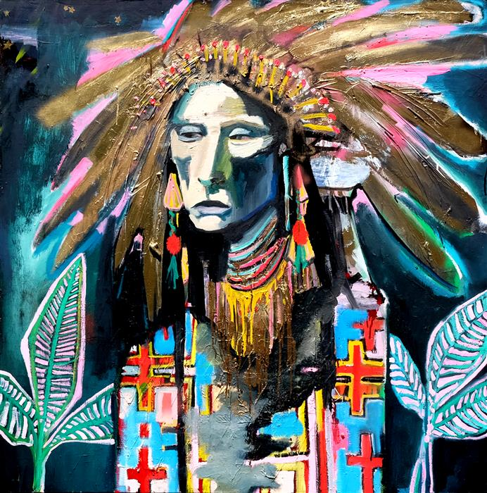 Original art for sale at UGallery.com | Glowing Pink Chief by Scott Dykema | $5,400 | mixed media artwork | 48' h x 48' w | ..\art\mixed-media-artwork-Glowing-Pink-Chief