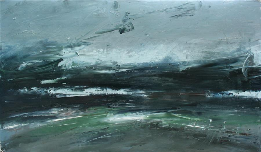 Original art for sale at UGallery.com | Texture of a Storm by Ronda Waiksnis | $1,400 | oil painting | 27' h x 46' w | ..\art\oil-painting-Texture-of-a-Storm