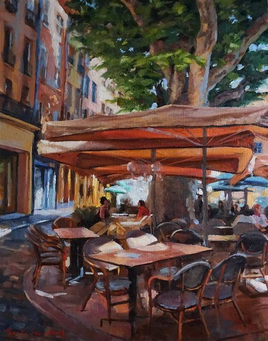 Original art for sale at UGallery.com | Wine Time in Provence by Jonelle Summerfield | $900 | oil painting | 20' h x 16' w | ..\art\oil-painting-Wine-Time-in-Provence