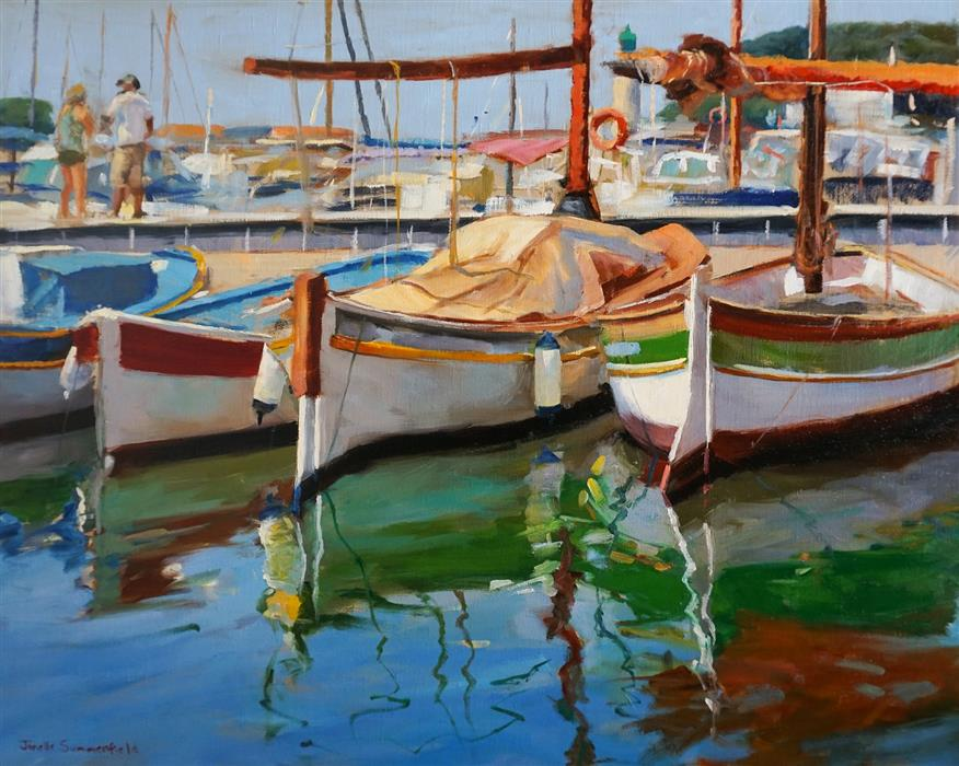 Original art for sale at UGallery.com | Cassis Boats by Jonelle Summerfield | $1,375 | oil painting | 24' h x 30' w | ..\art\oil-painting-Cassis-Boats