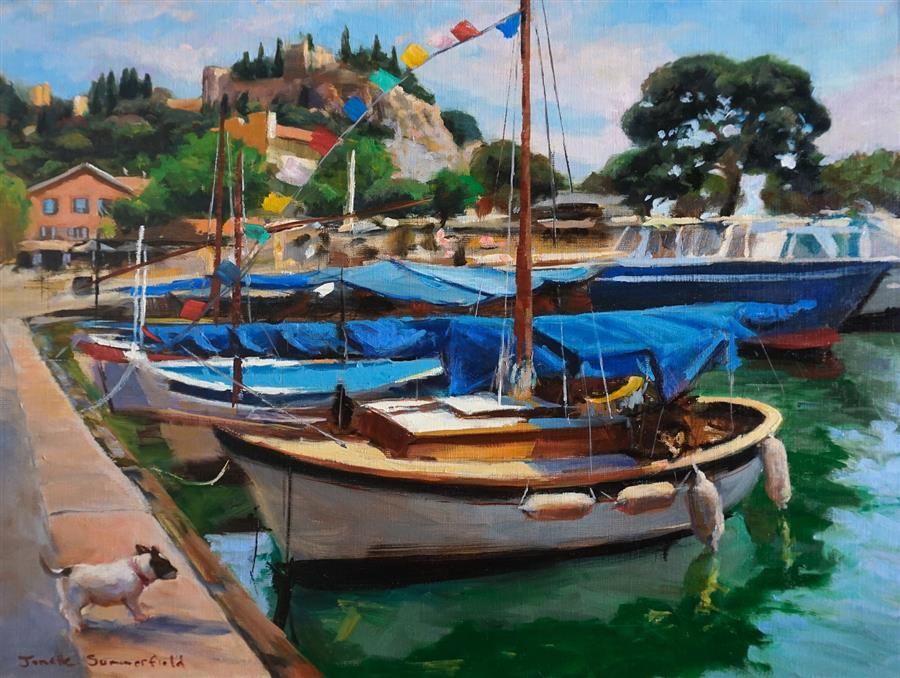 Original art for sale at UGallery.com | Cassis Marina by Jonelle Summerfield | $1,100 | oil painting | 18' h x 24' w | ..\art\oil-painting-Cassis-Marina