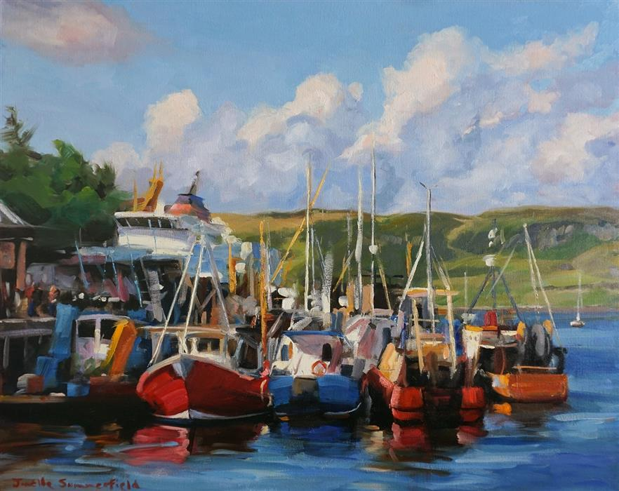 Original art for sale at UGallery.com | Docked in Oban by Jonelle Summerfield | $1,375 | oil painting | 24' h x 30' w | ..\art\oil-painting-Docked-in-Oban