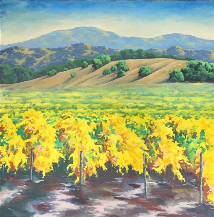 Original art for sale at UGallery.com | Autumn Vineyard by Steven Guy Bilodeau | $2,050 | oil painting | 36' h x 36' w | ..\art\oil-painting-Autumn-Vineyard-68061