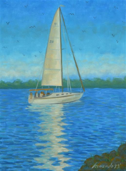 Original art for sale at UGallery.com | Sailing by Fernando Soler | $500 | oil painting | 16' h x 12' w | ..\art\oil-painting-Sailing