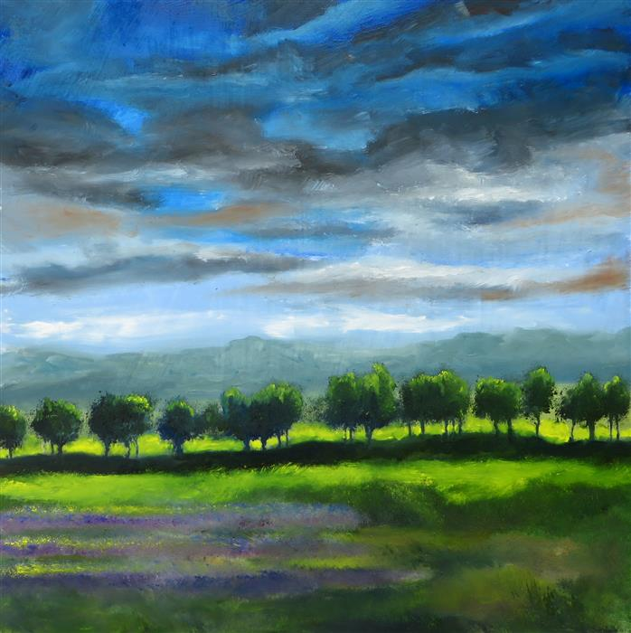 Original art for sale at UGallery.com | Lavender Field by Mitchell Freifeld | $250 | oil painting | 24' h x 24' w | ..\art\oil-painting-Lavender-Firle