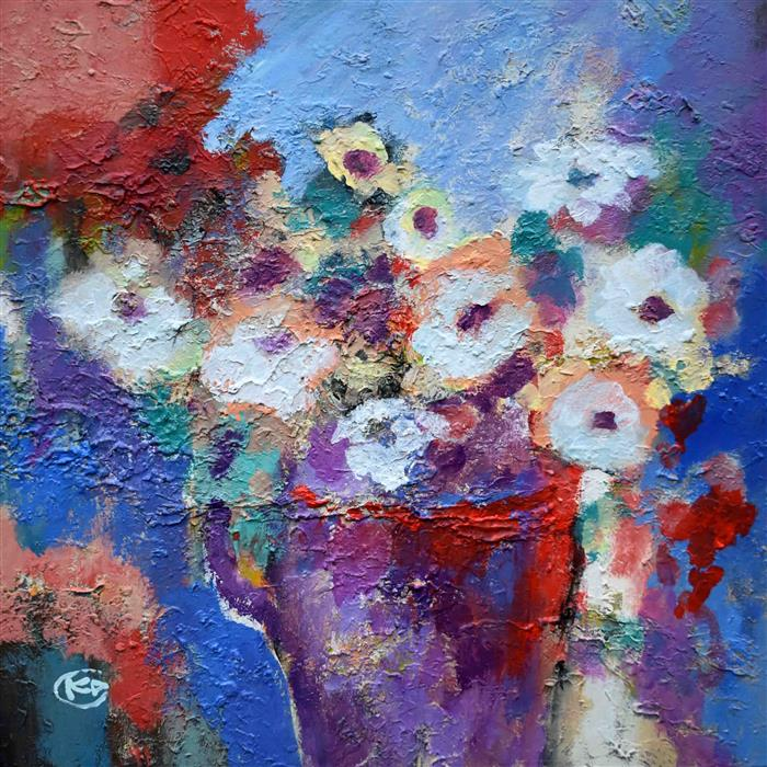 Original art for sale at UGallery.com | White Flowers by Kip Decker | $1,100 | acrylic painting | 24' h x 24' w | ..\art\acrylic-painting-White-Flowers-68068