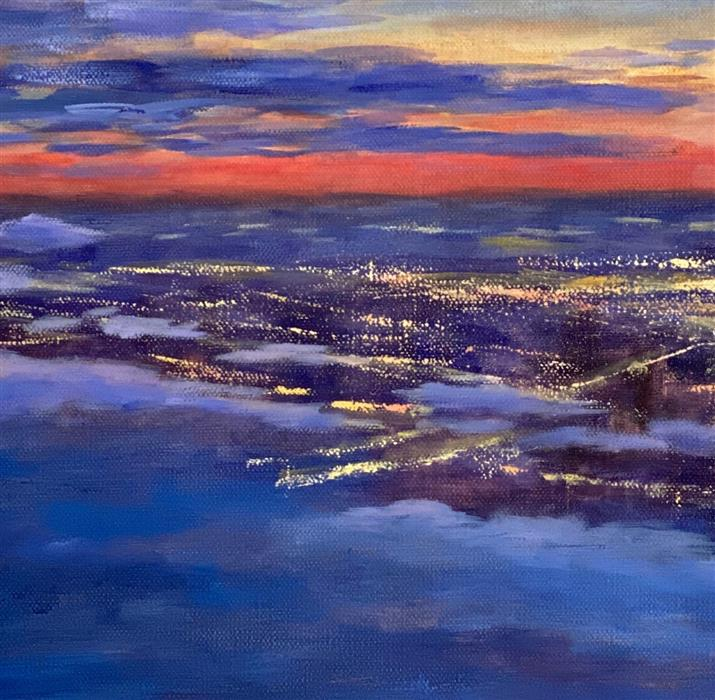 Original art for sale at UGallery.com | Beyond the Clouds by Yangzi Xu | $350 | oil painting | 12' h x 12' w | ..\art\oil-painting-Beyond-the-Clouds