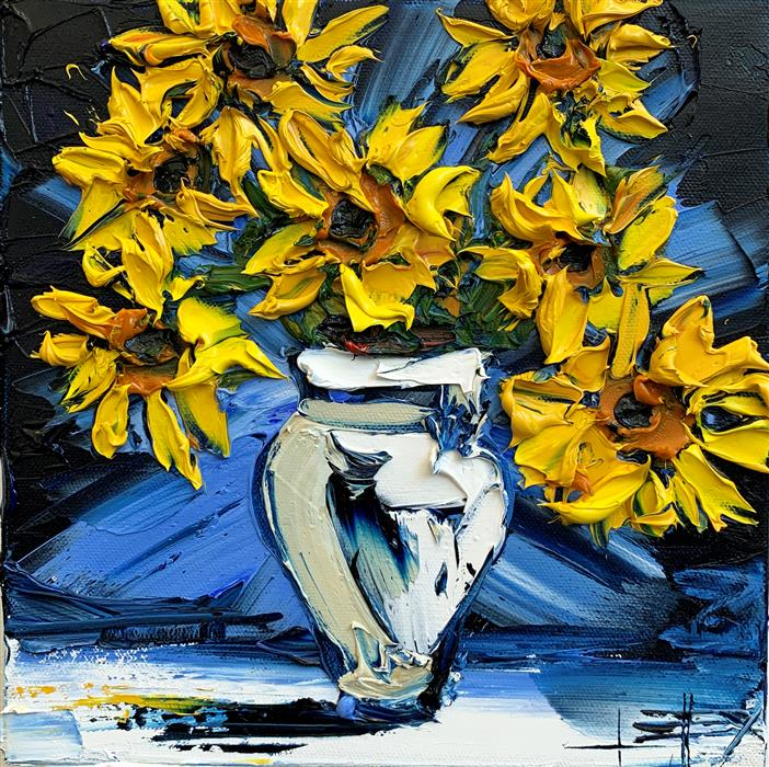 Original art for sale at UGallery.com | Vase of Van Gogh by Lisa Elley | $575 | oil painting | 10' h x 10' w | ..\art\oil-painting-Vase-of-Van-Gogh