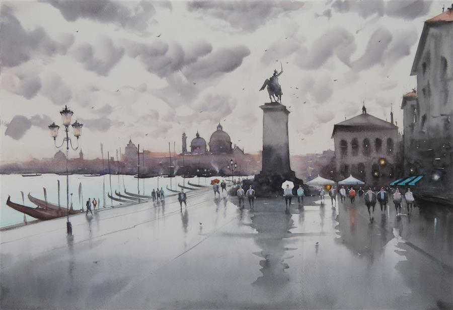 Original art for sale at UGallery.com | Man on the Horse, Venice Waterfront by Swarup Dandapat | $750 | watercolor painting | 15' h x 22' w | ..\art\watercolor-painting-Man-on-the-Horse-Venice-Waterfront