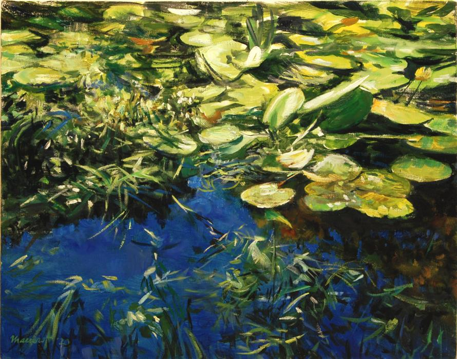 Original art for sale at UGallery.com | Water Lilies: Bright Morning by Onelio Marrero | $1,000 | oil painting | 16' h x 20' w | ..\art\oil-painting-Water-Lilies-Bright-Morning
