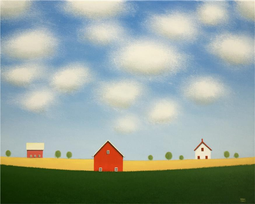 Original art for sale at UGallery.com | Red Barn on the Old Farm by Sharon  France | $1,400 | acrylic painting | 16' h x 20' w | ..\art\acrylic-painting-Red-Barn-on-the-Old-Farm