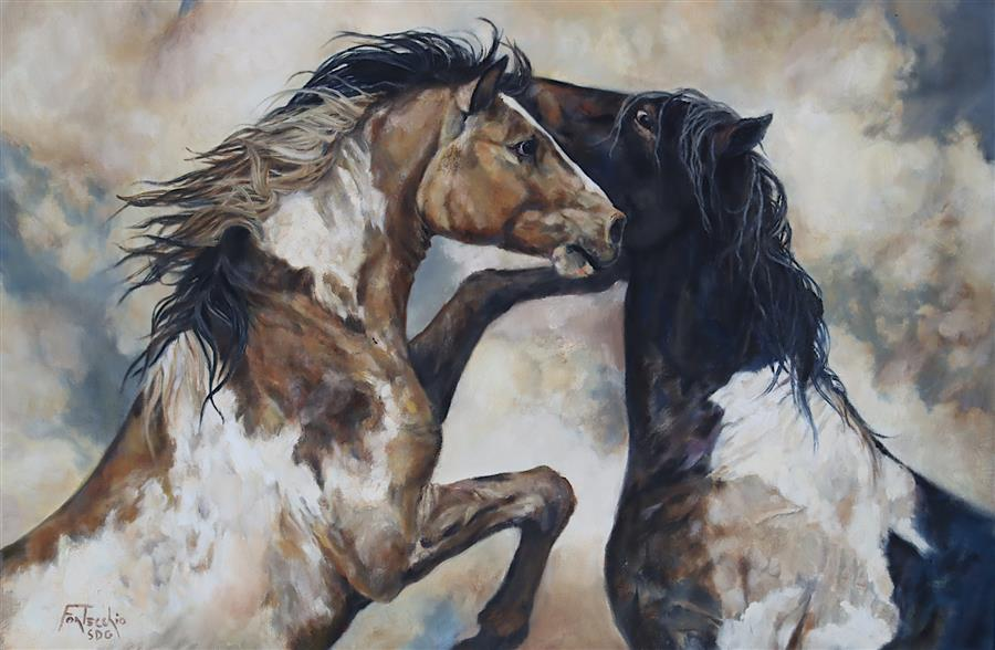 Original art for sale at UGallery.com | The Wild Life by Jan Fontecchio Perley | $1,675 | oil painting | 20' h x 30' w | ..\art\oil-painting-The-Wild-Life