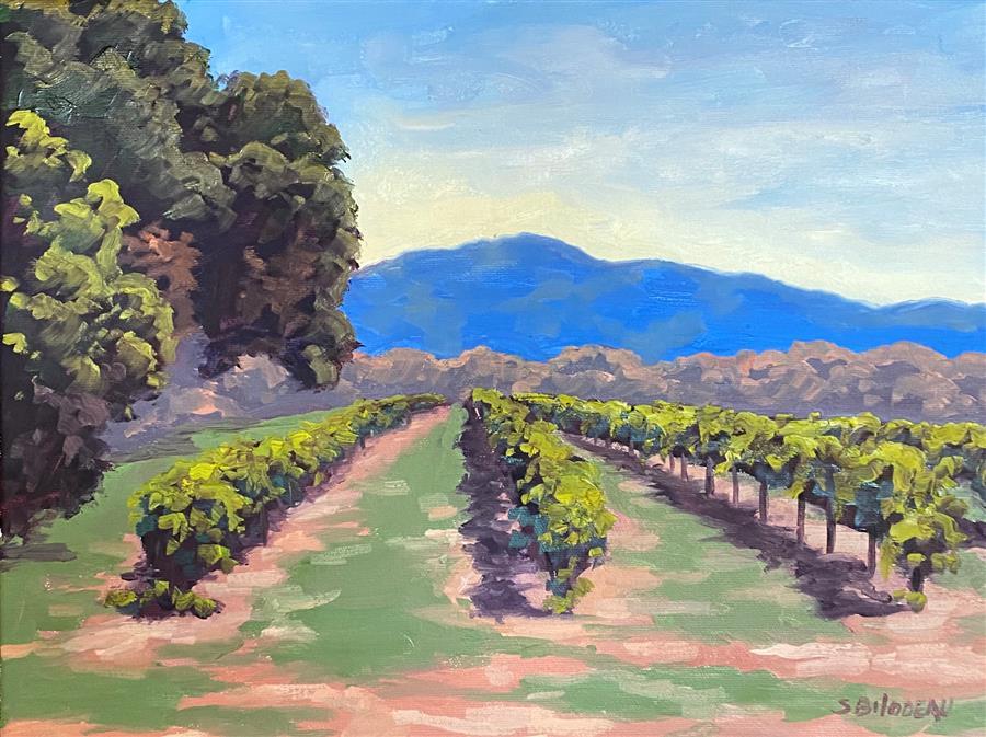 Original art for sale at UGallery.com   Mt Konocti Vineyards by Steven Guy Bilodeau   $475   oil painting   12' h x 16' w   ..\art\oil-painting-Mt-Konocti-Vineyards
