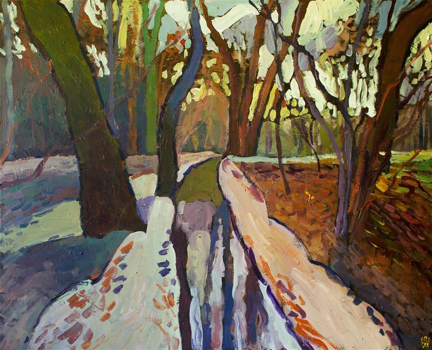 Original art for sale at UGallery.com | Woods Near Horsham by Robert Hofherr | $1,275 | acrylic painting | 24' h x 30' w | ..\art\acrylic-painting-Woods-Near-Horsham