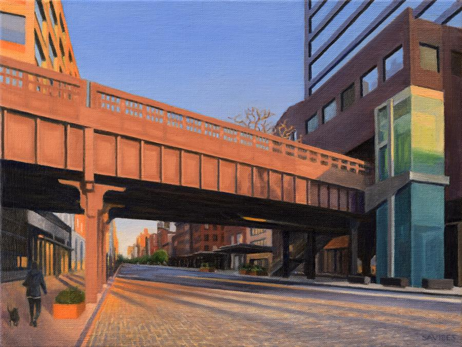 Original art for sale at UGallery.com | West 14th Street at Sunset by Nick Savides | $825 | oil painting | 9' h x 12' w | ..\art\oil-painting-West-14th-Street-at-Sunset