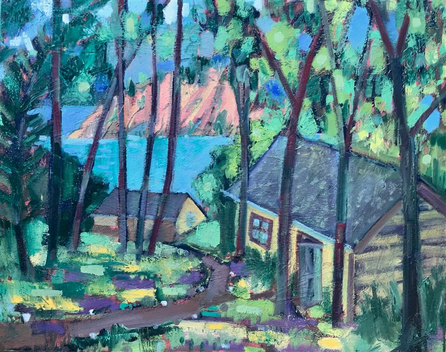 Original art for sale at UGallery.com | Cabins by the Lake by James Hartman | $1,575 | oil painting | 24' h x 30' w | ..\art\oil-painting-Cabins-by-the-Lake