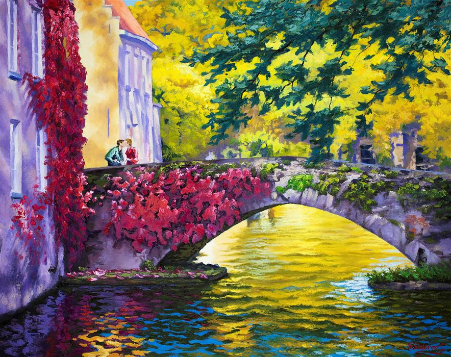 Original art for sale at UGallery.com | Rendezvous on Bridge. Canal in Bruges, Belgium.  by Stanislav Sidorov | $1,675 | oil painting | 24' h x 30' w | ..\art\oil-painting-Rendezvous-on-Bridge-Canal-in-Bruges-Belgium