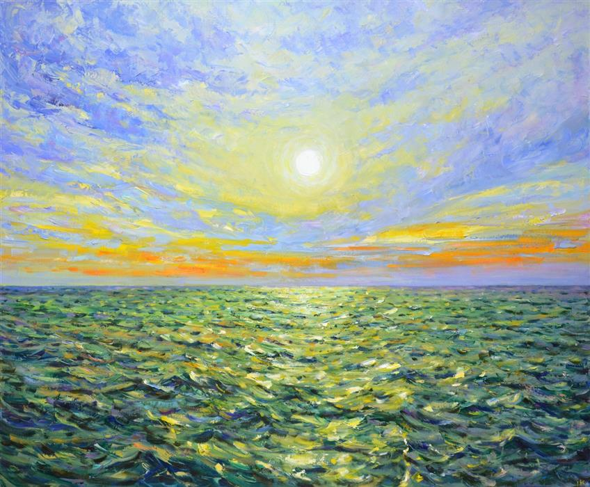 Original art for sale at UGallery.com | Dawn over the Ocean by Iryna Kastsova | $2,600 | oil painting | 39' h x 47' w | ..\art\oil-painting-Dawn-over-the-Ocean