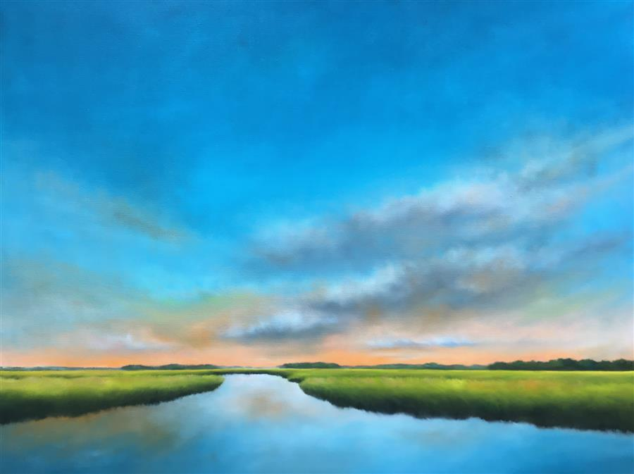 Original art for sale at UGallery.com | Daybreak Marsh by Nancy Hughes Miller | $3,100 | oil painting | 36' h x 48' w | ..\art\oil-painting-Daybreak-Marsh