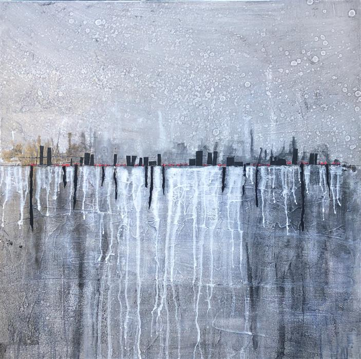Original art for sale at UGallery.com | City View by Pat Forbes | $1,875 | acrylic painting | 40' h x 40' w | ..\art\acrylic-painting-City-View