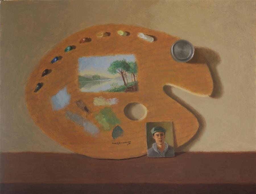 Original art for sale at UGallery.com | Three Genres by Jose H. Alvarenga | $750 | oil painting | 14' h x 18' w | ..\art\oil-painting-Three-Genres