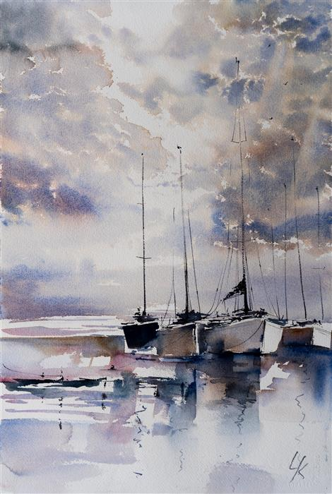 Original art for sale at UGallery.com | Sailing IX by Yuriy Kraft | $600 | watercolor painting | 22.4' h x 15.4' w | ..\art\watercolor-painting-Sailing-IX