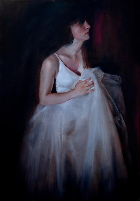 Original art for sale at UGallery.com | Dancer with Tulle by John Kelly | $2,300 | oil painting | 21.5' h x 15' w | ..\art\oil-painting-Dancer-with-Tulle