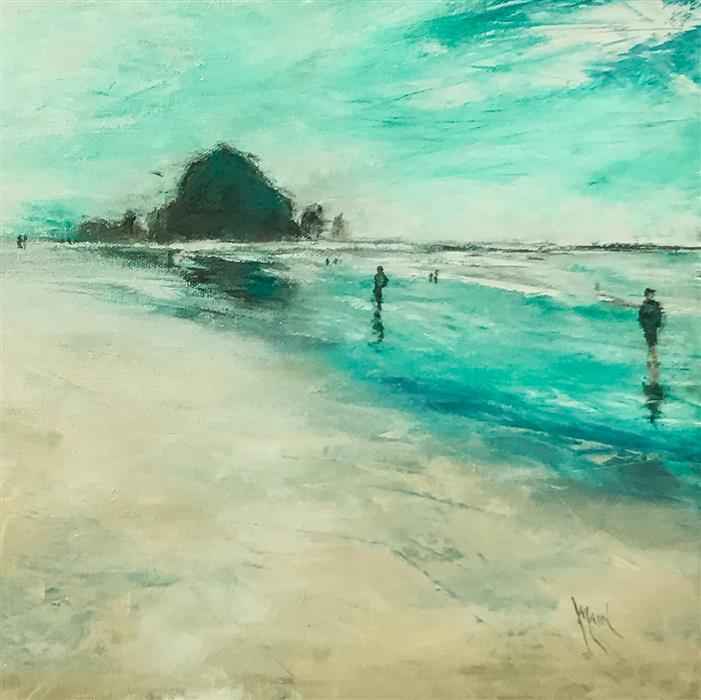 Original art for sale at UGallery.com | Haystack Rock XV by Mandy Main | $525 | oil painting | 12' h x 12' w | ..\art\oil-painting-Haystack-Rock-XV