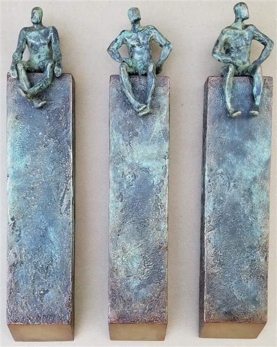 Original art for sale at UGallery.com | Small Beings in Columns (Set of 3) by Yelitza Diaz | $1,700 | mixed media artwork | 20' h x 16' w | ..\art\mixed-media-artwork-Small-Beings-in-Columns-Set-of-3