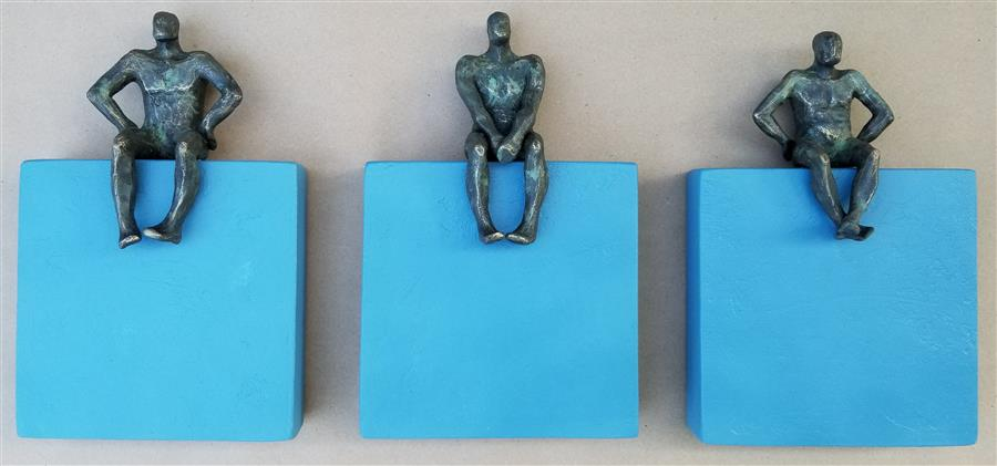 Original art for sale at UGallery.com | Small Beings on Blue Squares (Set of 3) by Yelitza Diaz | $1,675 | mixed media artwork | 12' h x 28' w | ..\art\mixed-media-artwork-Small-Beings-on-Blue-Squares-Set-of-3