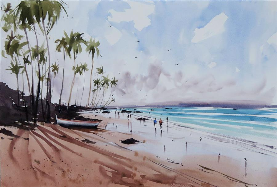 Original art for sale at UGallery.com | Sunshine and the Palm Trees by Swarup Kumar Dandapat | $700 | watercolor painting | 13.7' h x 19.7' w | ..\art\watercolor-painting-Sunshine-and-the-Palm-Trees