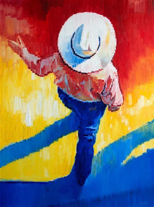 Original art for sale at UGallery.com | Cowboy Looking to the Big West by Warren Keating | $4,400 | oil painting | 48' h x 36' w | ..\art\oil-painting-Cowboy-Looking-to-the-Big-West