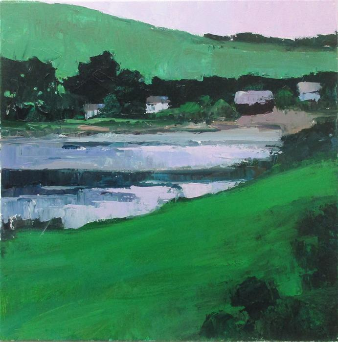 Original art for sale at UGallery.com | Lakeside Houses, Ireland by Janet Dyer | $1,000 | acrylic painting | 20' h x 20' w | ..\art\acrylic-painting-Lakeside-Houses-Ireland