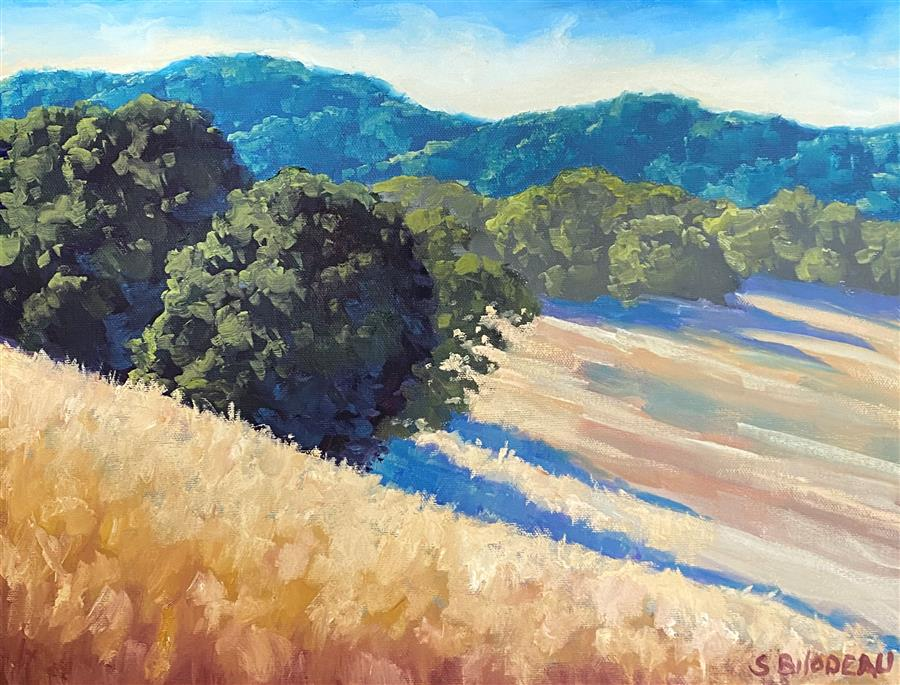 Original art for sale at UGallery.com | Summer Shadows in Marin by Steven Guy Bilodeau | $525 | oil painting | 12' h x 16' w | ..\art\oil-painting-Summer-Shadows-in-Marin