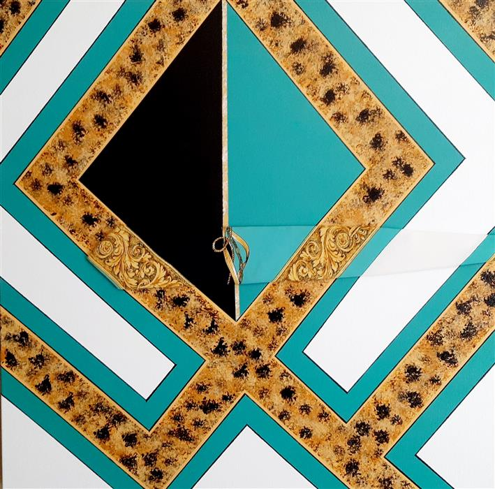 Original art for sale at UGallery.com | Aqua Royale by Gregory Brown | $1,700 | mixed media artwork | 30' h x 30' w | ..\art\mixed-media-artwork-Aqua-Royale