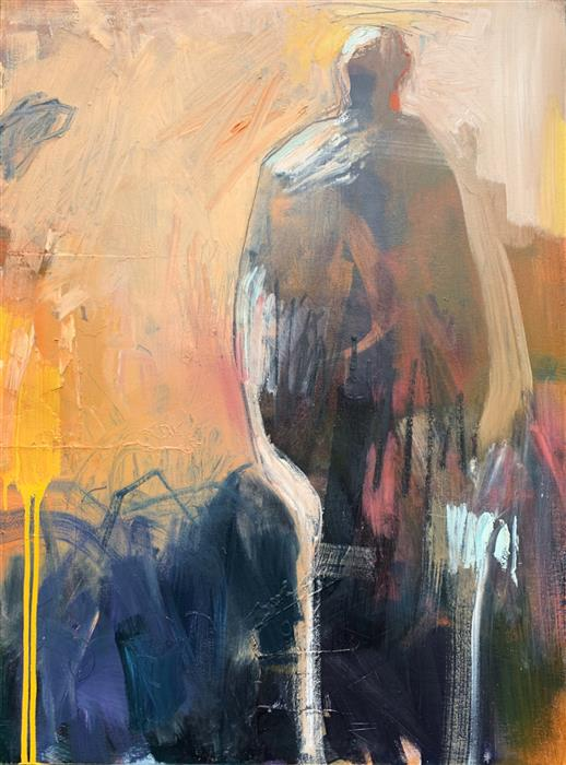 Original art for sale at UGallery.com | Moving On by Gena Brodie Robbins | $4,200 | mixed media artwork | 48' h x 36' w | ..\art\mixed-media-artwork-Moving-On-68201