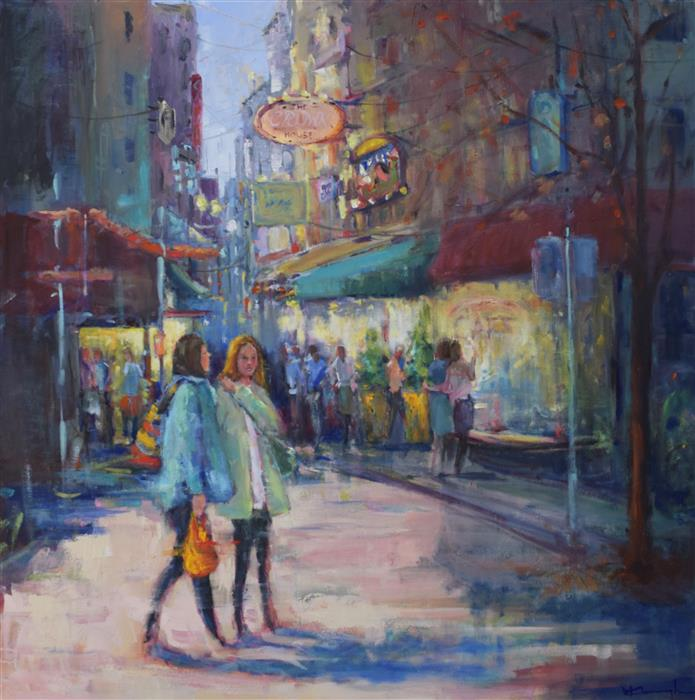 Original art for sale at UGallery.com | Out and About by Mickey Cunningham | $1,700 | oil painting | 30' h x 30' w | ..\art\oil-painting-Out-and-About