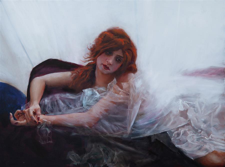Original art for sale at UGallery.com | Marian in White by John Kelly | $2,300 | oil painting | 18' h x 24' w | ..\art\oil-painting-Marian-in-White