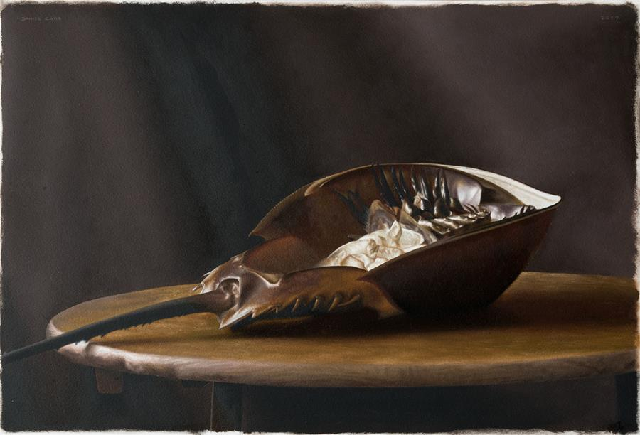 Original art for sale at UGallery.com | Horseshoe Crab by Daniel Caro | $900 | oil painting | 10.8' h x 15.7' w | ..\art\oil-painting-Horseshoe-Crab