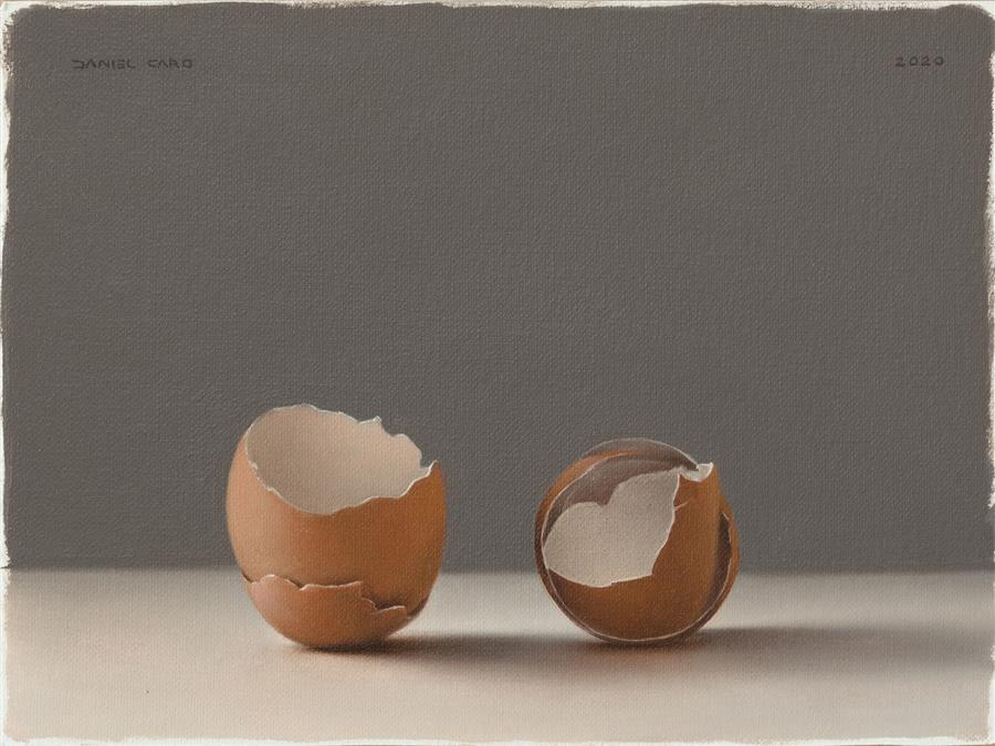Original art for sale at UGallery.com | Eggshells by Daniel Caro | $550 | oil painting | 5.9' h x 7.9' w | ..\art\oil-painting-Eggshells