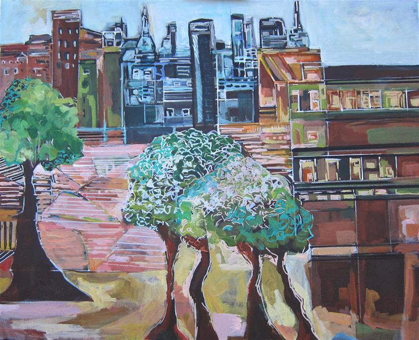 Original art for sale at UGallery.com | Unity in New York Part l by Colette Wirz Nauke | $1,175 | acrylic painting | 24' h x 30' w | ..\art\acrylic-painting-Unity-in-New-York-Part-l