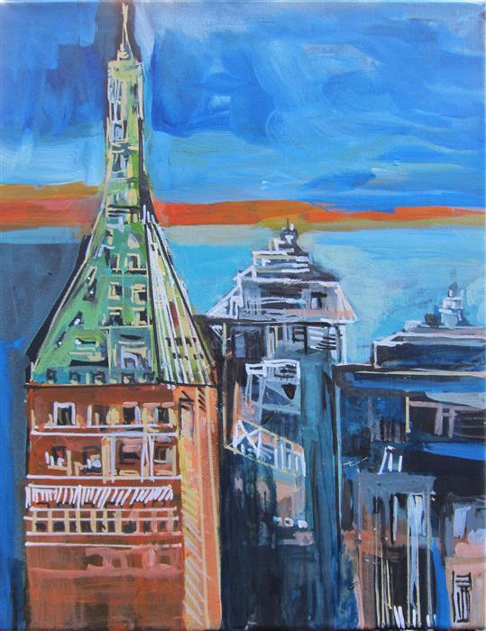 Original art for sale at UGallery.com | For the Love of New York Part ll by Colette Wirz Nauke | $250 | acrylic painting | 14' h x 11' w | ..\art\acrylic-painting-For-the-Love-of-New-York-Part-ll