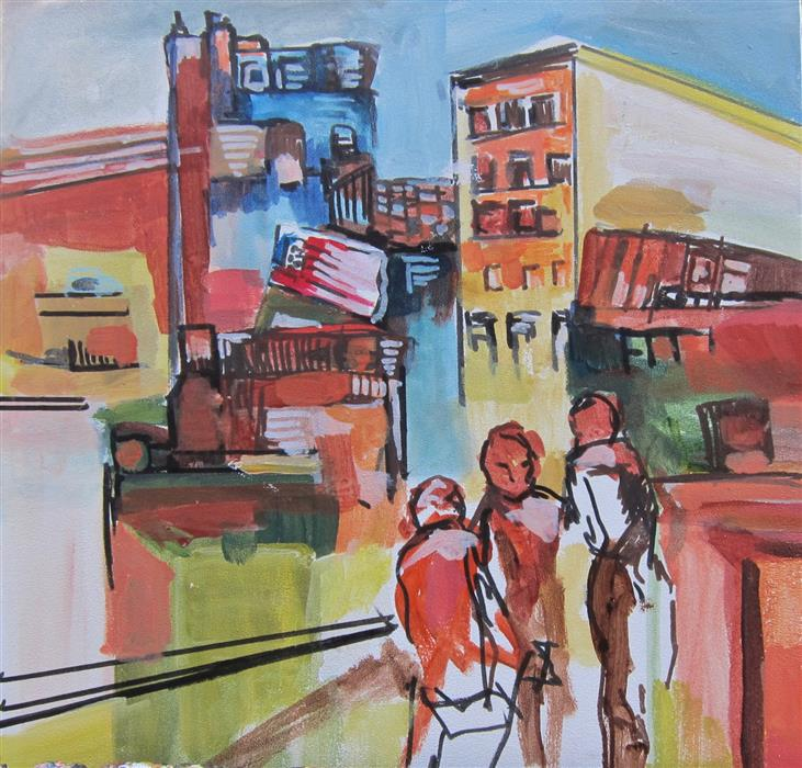 Original art for sale at UGallery.com | Hope for New York Part l by Colette Wirz Nauke | $250 | acrylic painting | 12' h x 12' w | ..\art\acrylic-painting-Hope-for-New-York-Part-l