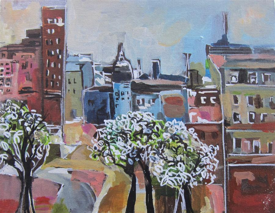 Original art for sale at UGallery.com | For the Love of New York Part V by Colette Wirz Nauke | $250 | acrylic painting | 11' h x 14' w | ..\art\acrylic-painting-For-the-Love-of-New-York-Part-V