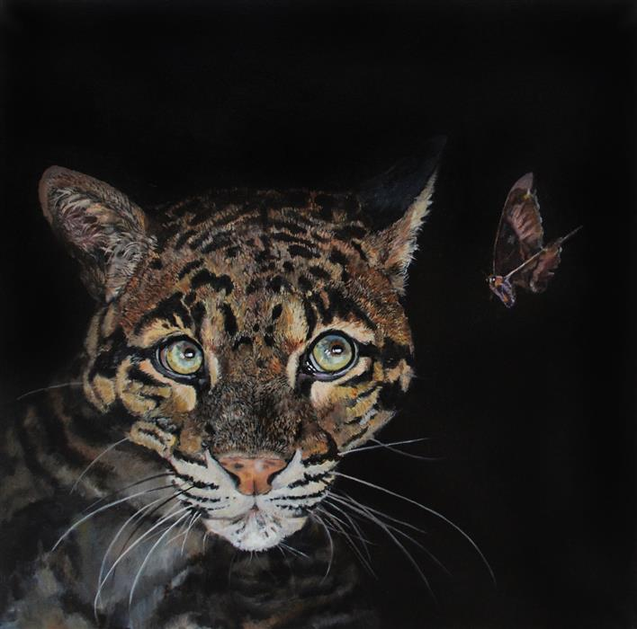 Original art for sale at UGallery.com | Clouded Leopard by Jan Fontecchio Perley | $1,350 | oil painting | 24' h x 24' w | ..\art\oil-painting-Clouded-Leopard