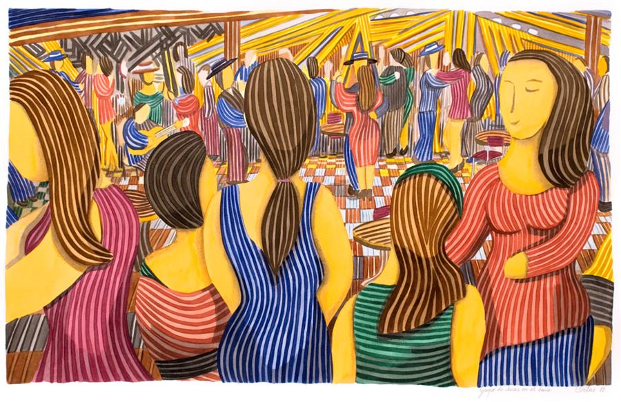 Original art for sale at UGallery.com | Group of Girls at the Dance Party by Javier Ortas | $3,050 | watercolor painting | 27.55' h x 39.37' w | ..\art\watercolor-painting-Group-of-Girls-at-the-Dance-Party